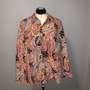 Chaps bright pink paisley button down, Sz 1X